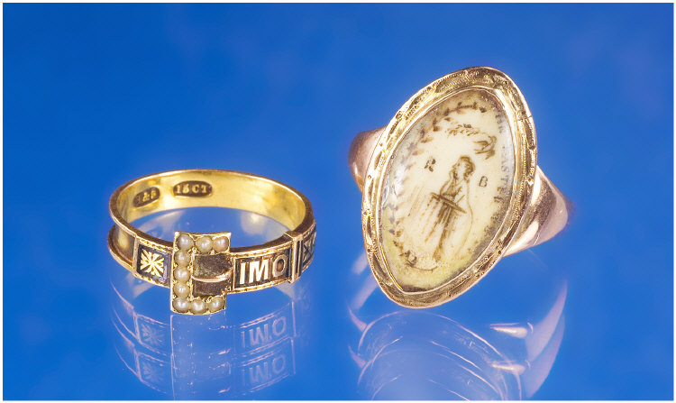15ct Gold Victorian Mourning Ring, Modelled
