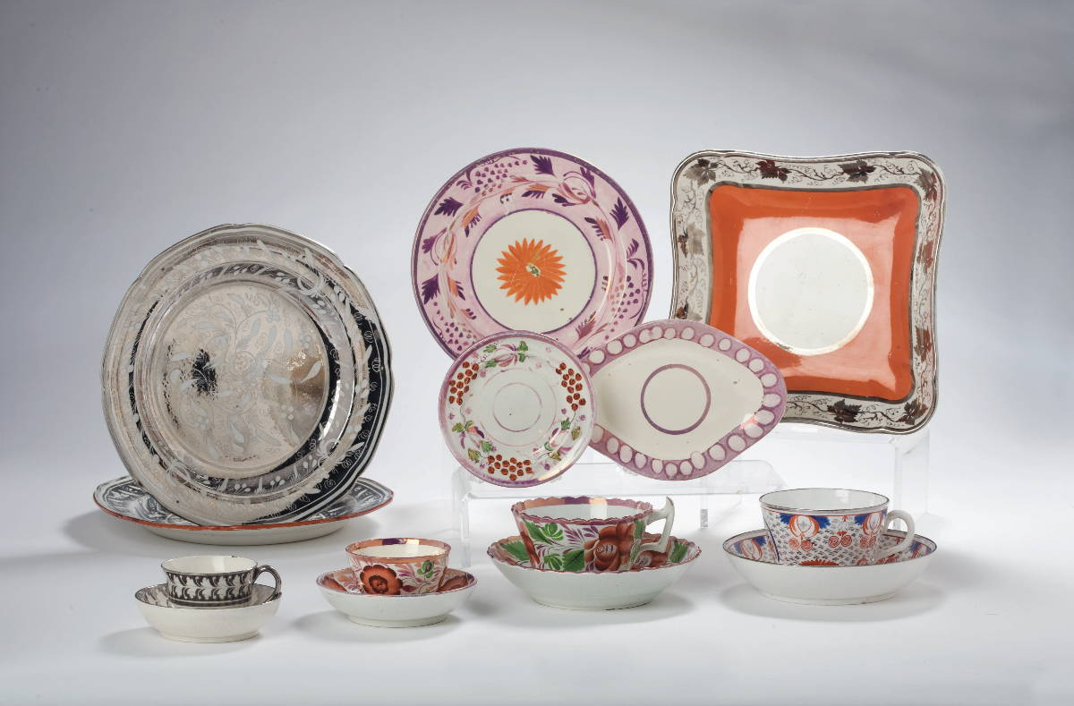 GROUP OF BRITISH PINK, SILVER LUSTRE, AND