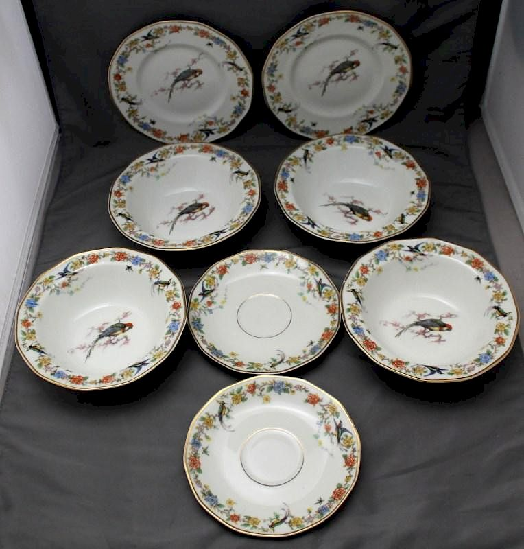 9 pc HAVILAND LIMOGES ARCADIA (PARROTS) CHINA: