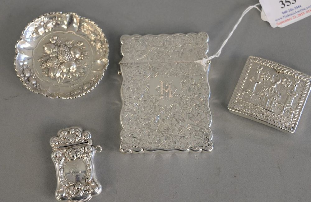 Four piece silver group to include Victorian