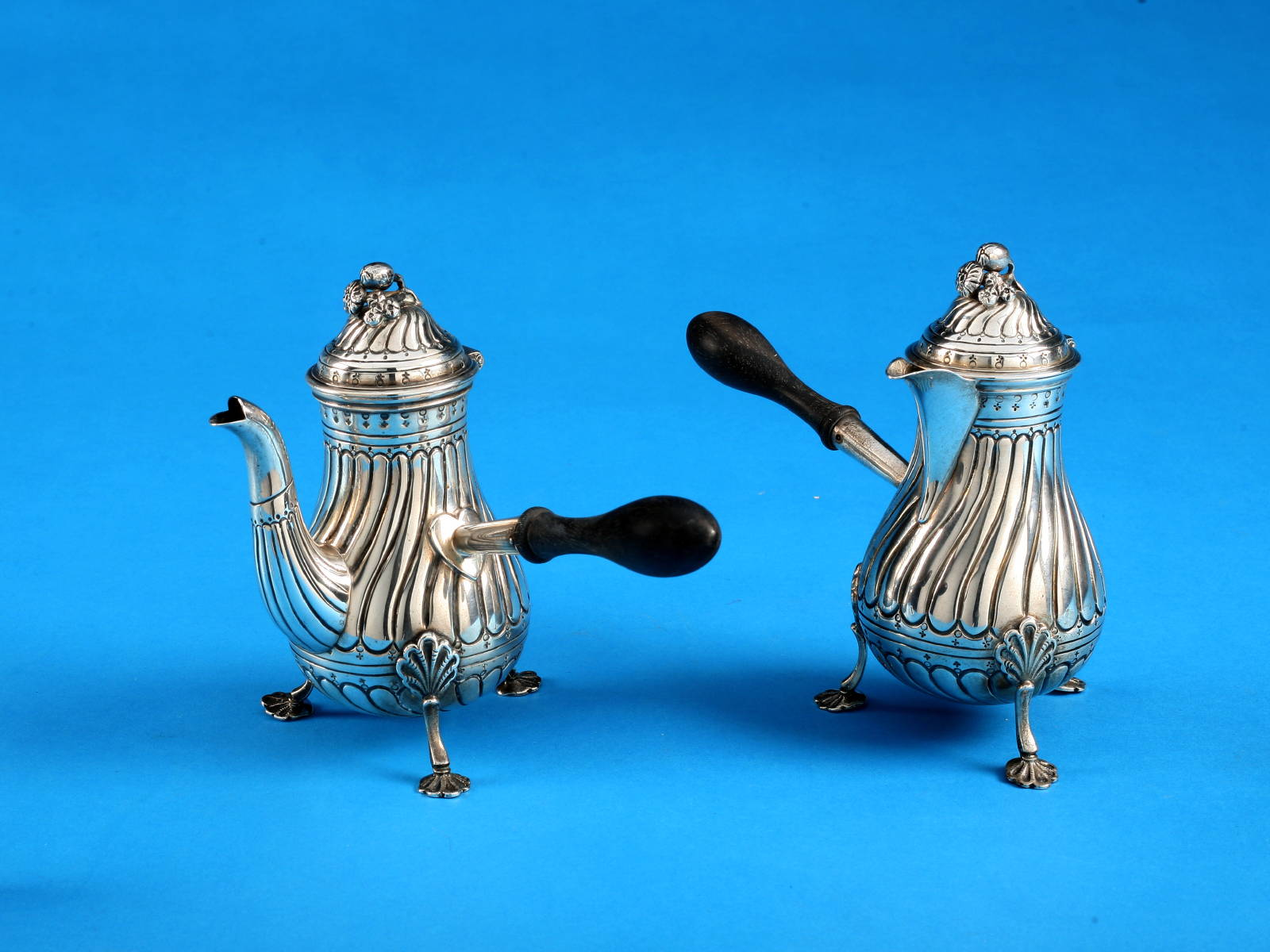 PAIR OF GEORGE V SILVER CHOCOLATE POTS, JOHN