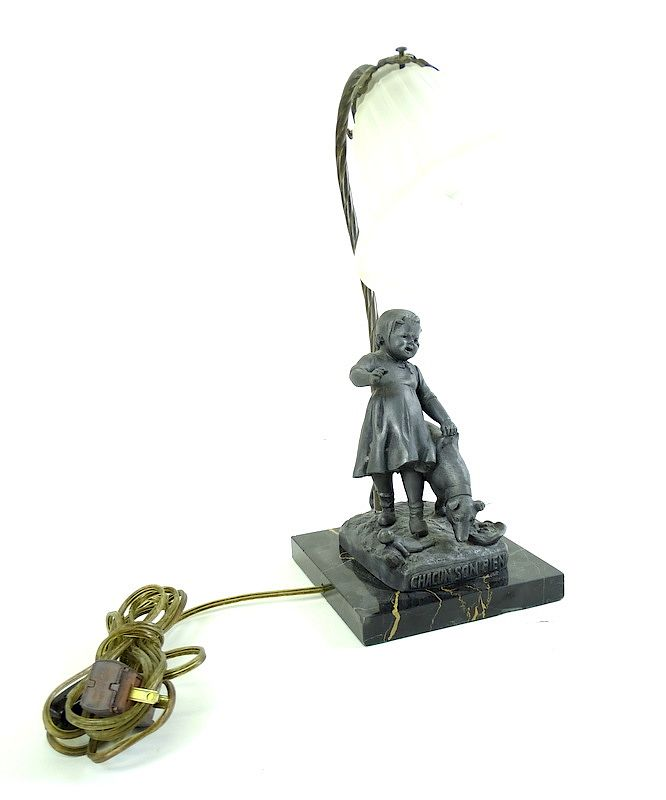 Art Deco Bronze Figural Lamp - Marble Mount: