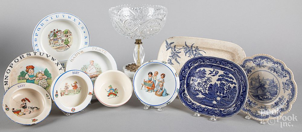 Seven porcelain baby dishes:  Seven porcelain
