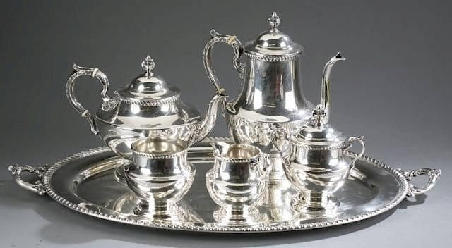Poole Silver Co. 5 pcs Sterling tea service