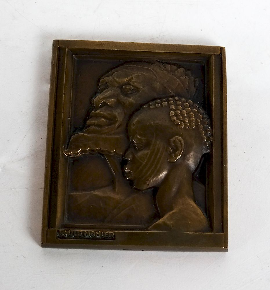 Two Medallions:  Grandfather and Child Plaquette,
