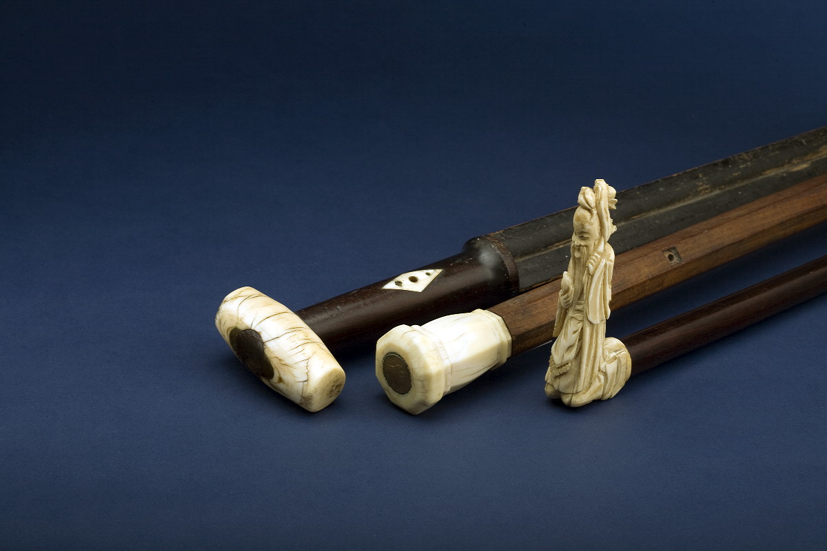 ROSEWOOD AND IVORY WALKING STICK WITH INLAID