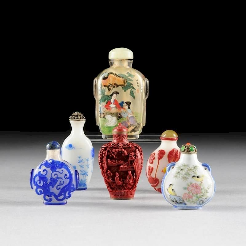 A GROUP OF SIX CHINESE SNUFF BOTTLES, 20TH