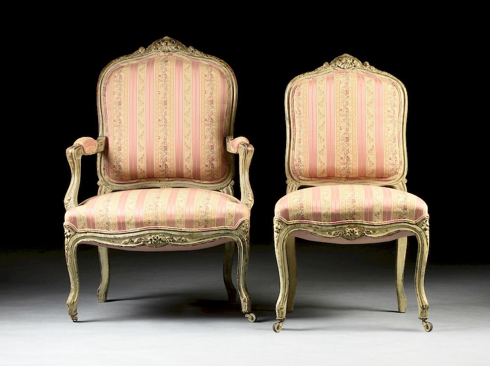 A SET OF SIX LOUIS XV STYLE PAINTED AND PARCEL