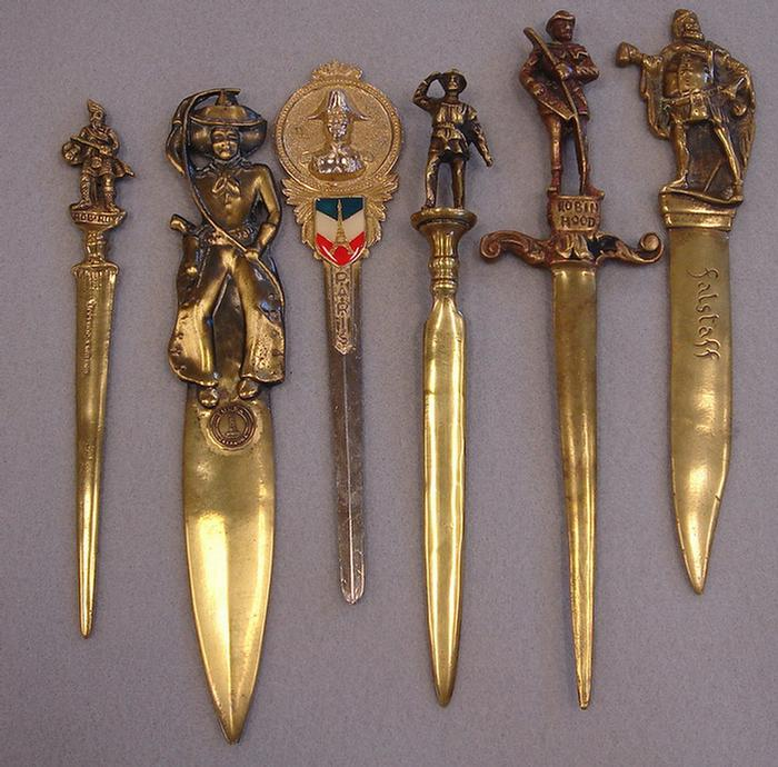 Brass Letter Opener Antique.Price Guide For Lot Of 6 Vintage Brass Figural Letter Openers