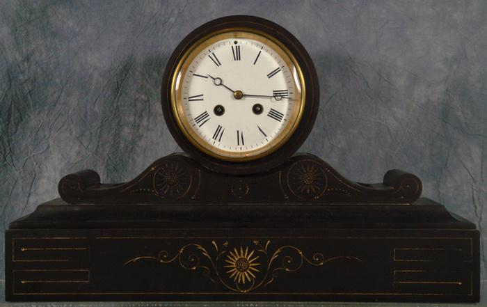 L Marti & Cie French black slate mantle clock,