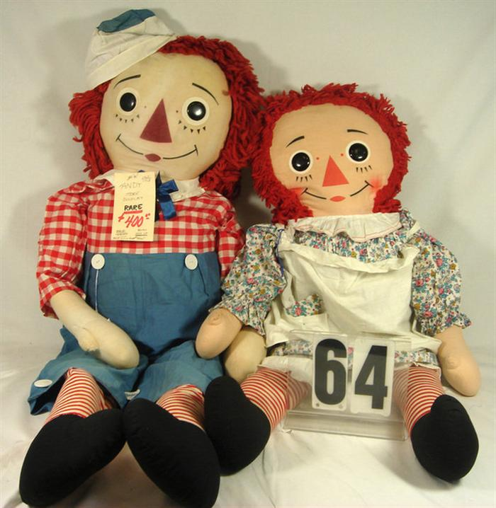 Two large Raggedy Ann and Andy Cloth Dolls,
