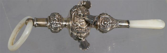 English sterling silver baby rattle with