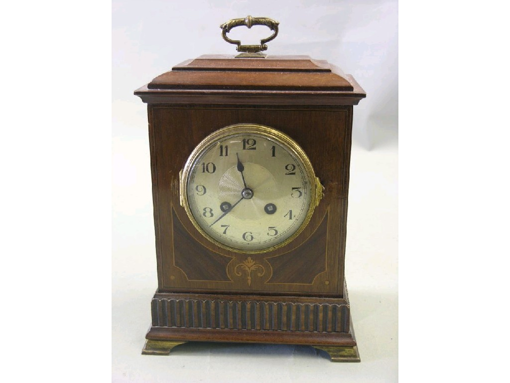 An Edwardian inlaid mahogany mantel clock,