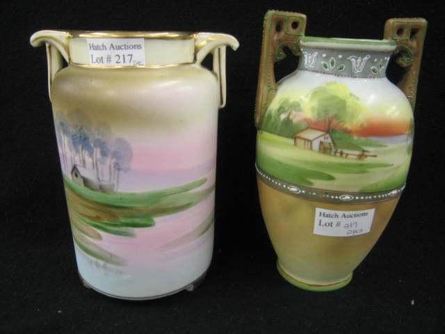 Price Guide For 2 Handpainted Nippon Porcelain Vases Satin