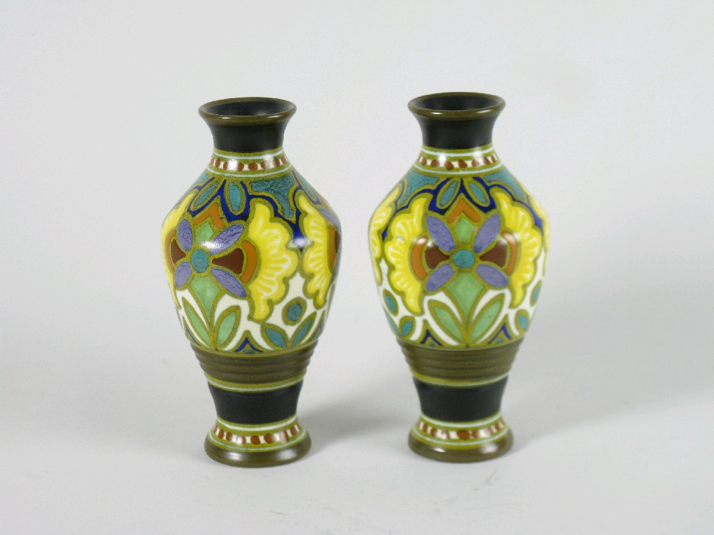 Pair of Gouda Vases inverted baluster with