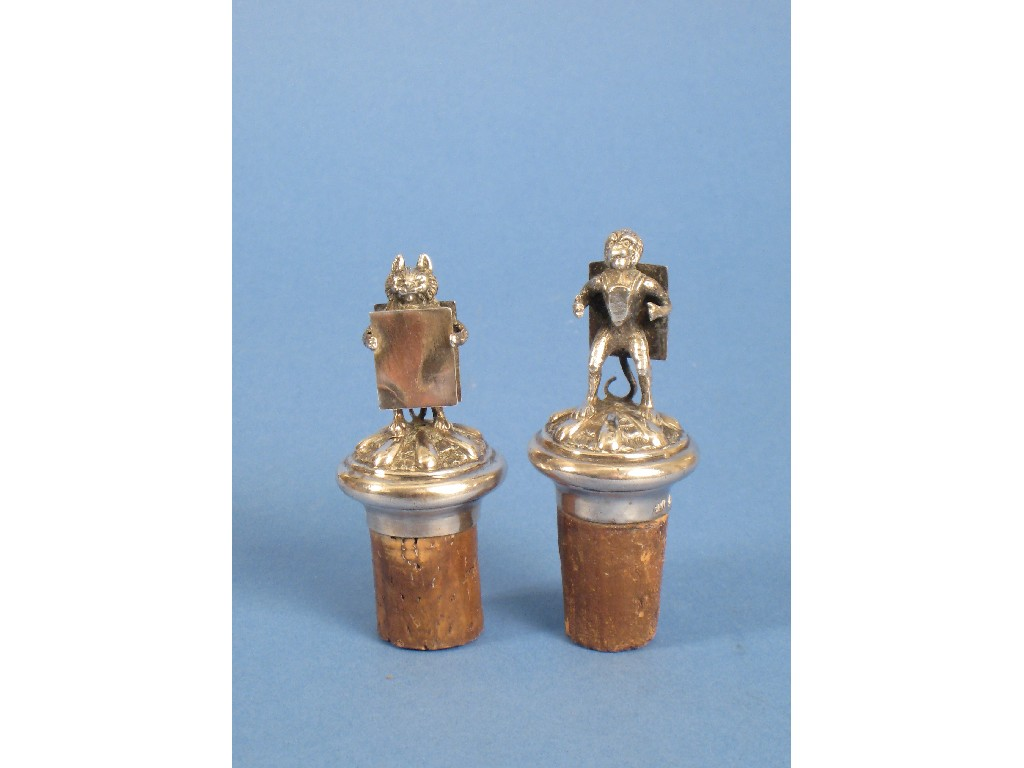 Pair of Victorian Bottle Stoppers, the finials