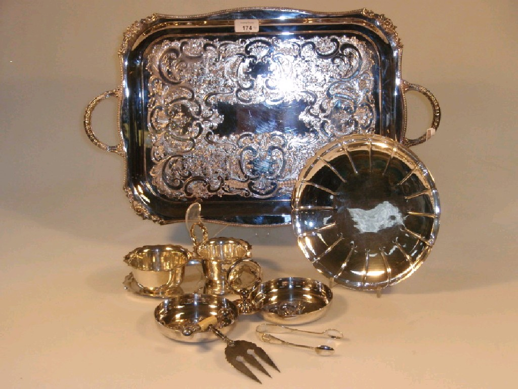 A Viners electroplate two-handled tea tray,
