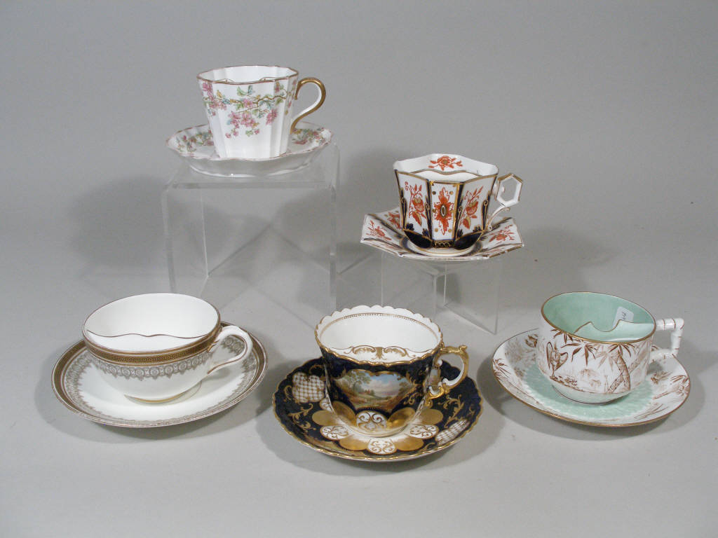 Group of Five English Mustache Cups w/Saucers,