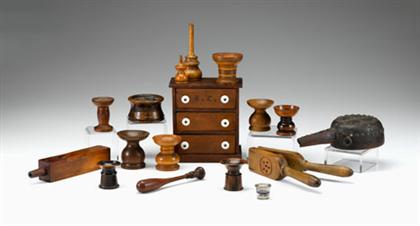 Group of turned wooden  household objects