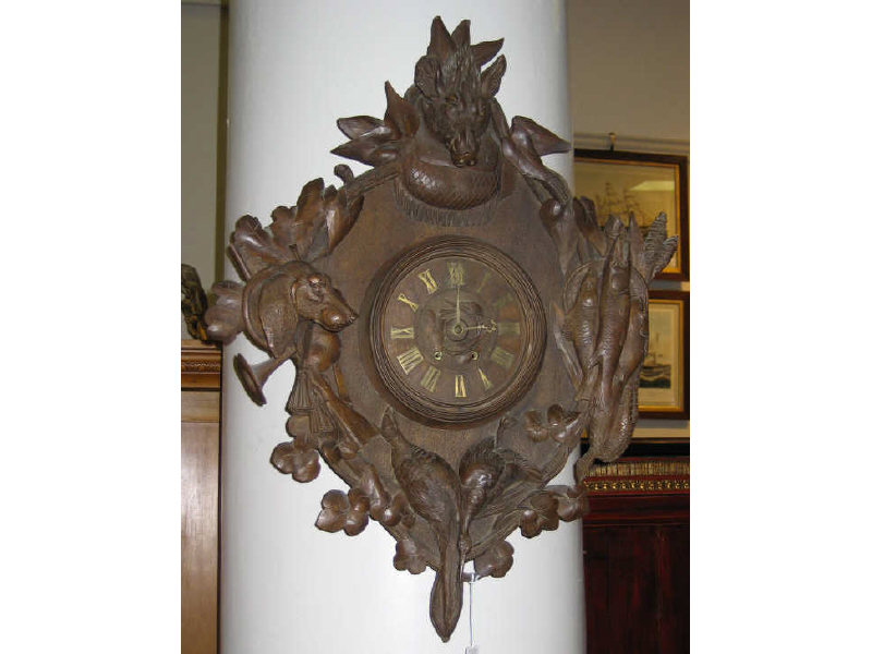 BLACK FOREST CARVED GAME WALL CLOCK Finely