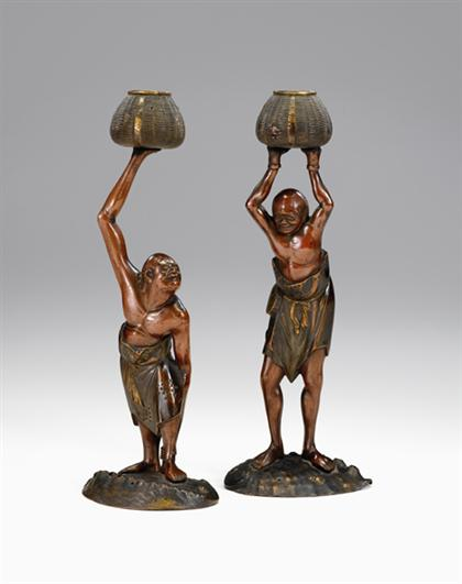 Large pair of Japanese bronze figures