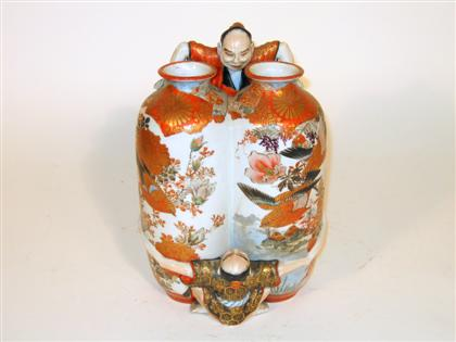 Japanese kutani double chamber vase    early