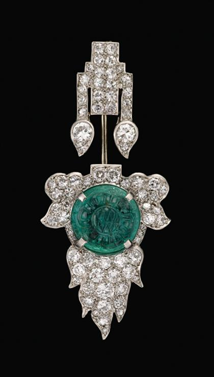 Platinum diamond and emerald jabot pin, Cartier