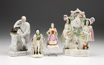Four polychrome Staffordshire figures
