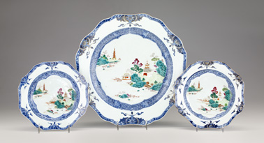 Three Chinese export porcelain famille rose