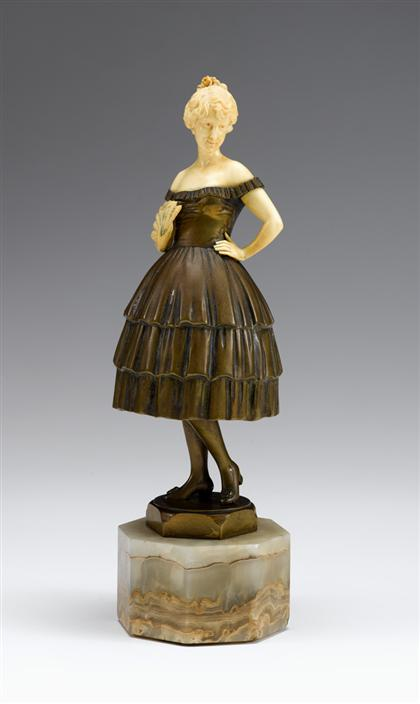 Art Deco bronze and ivory figure    ludwig