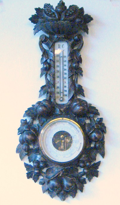 Black Forest carved wood thermometer/ barometer