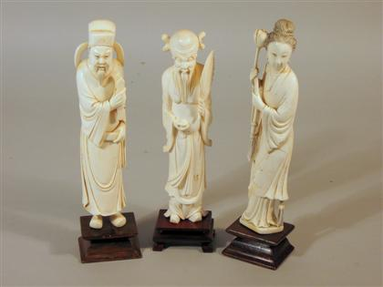 Set of three Chinese elephant ivory carvings