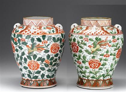 Pair of South Chinese wucai jars    early