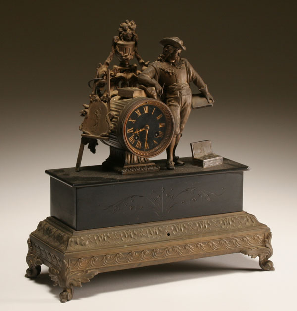 Victorian era figural mantle clock with young