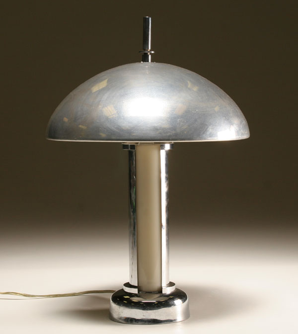 Price Guide For Art Deco Machine Age Chrome Dome Shade Table