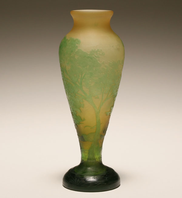 Galle French cameo art glass landscape vase;