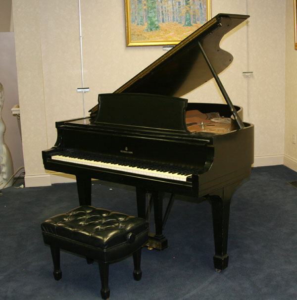 Baby grand piano; Steinway #356892L, ebonized