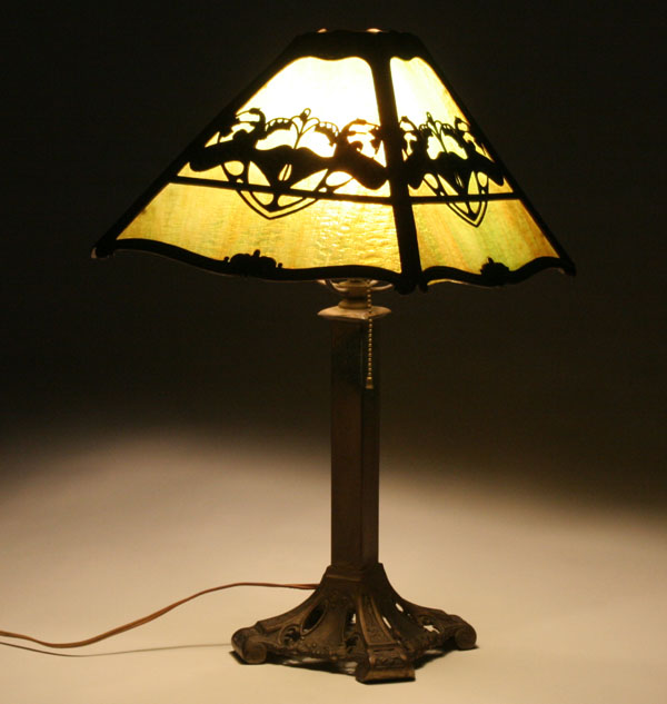 Art Nouveau four panel slag glass lamp with