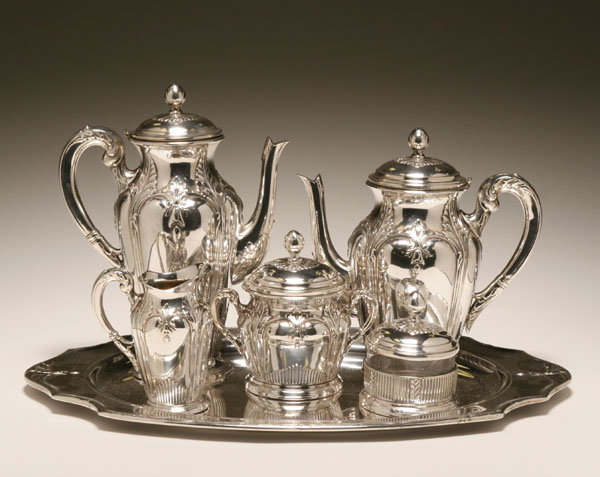 Fracalanza Brazilian Silver Tea And Coffee Service Plated Set With Repousse Reed Bell Flower Decoration Marked On The Base Tray 18 1 2 X