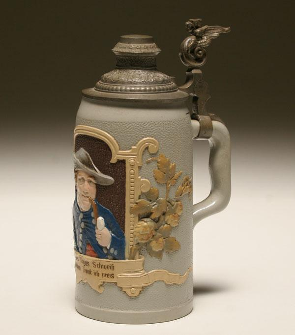German beer stein, Mettlach pottery with