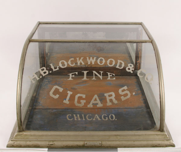 Antique Lockwood Cigar Store Display Case Cabinet; curved glass top, tin  over wood frame, McJohn Mfg. 12