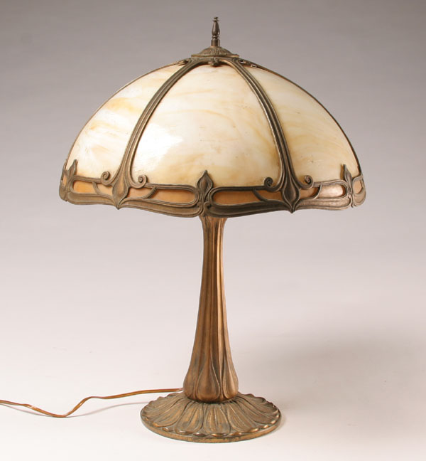 Miller slag glass lamp; caramel slag, cast