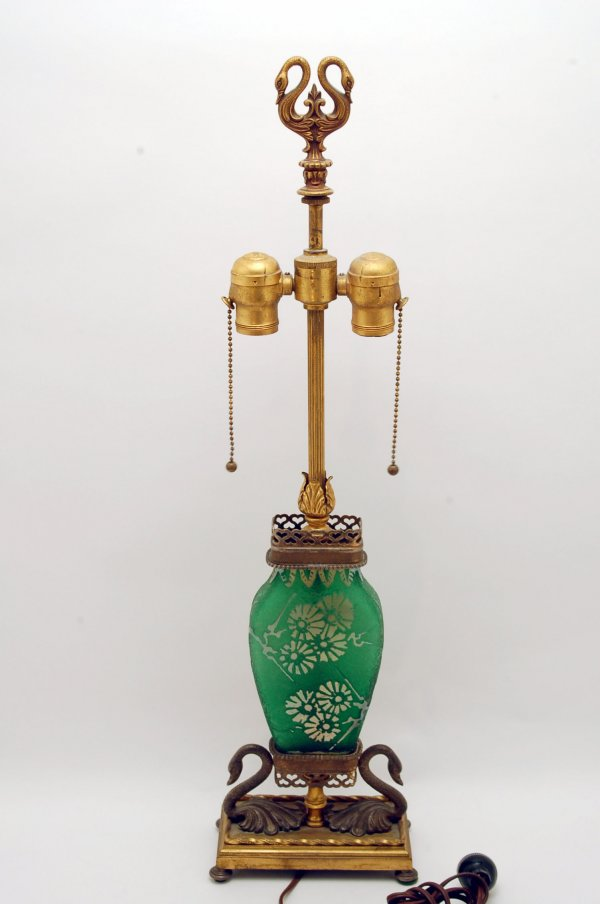 Art glass table lamp, green cameo cut body