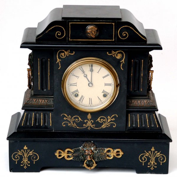 Large Victorian slate mantle clock. Applied