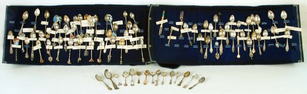 A collection of eighty-four souvenir spoons