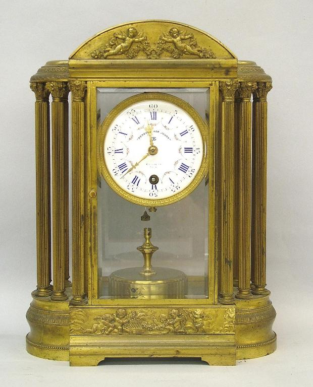 French bronze four glass 'Pendule 400 Jours'