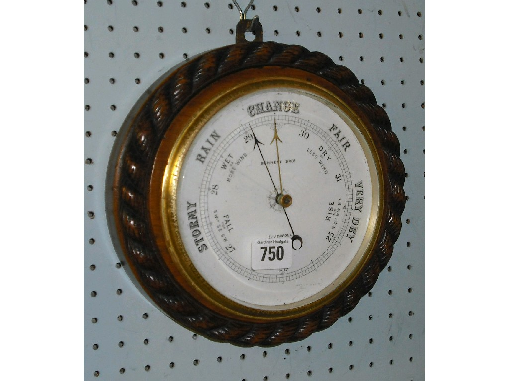 "Oak circular barometer, the 6"" white dial"