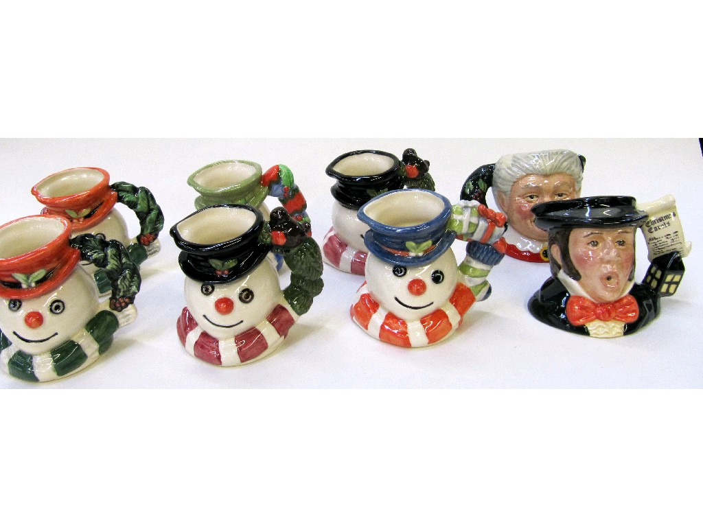Eight Royal Doulton character jugs to include