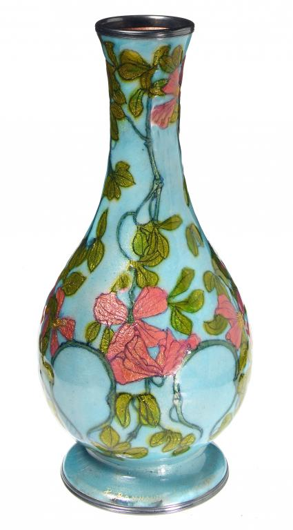 A FRENCH SILVER AND LIMOGES ENAMEL VASE BY
