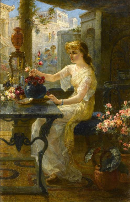 ARTHUR DRUMMOND (1871-1951) ARRANGING FLOWERS